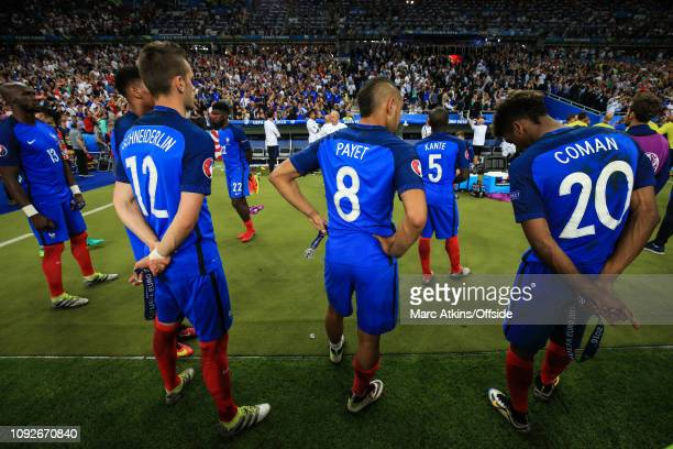 July 2016 - UEFA EURO 2016 Final - Portugal v France - A dejected Dimitri Payet of France stands among his team mates after collecting his losers...