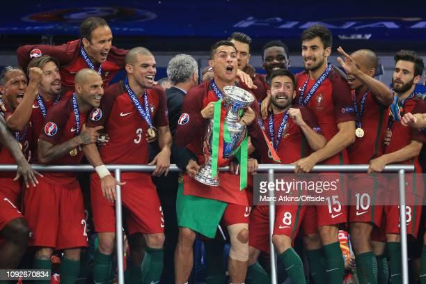 July 2016 - UEFA EURO 2016 Final - Portugal v France - Cristiano Ronaldo of Portugal lifts the Henri Delaunay trophy- .