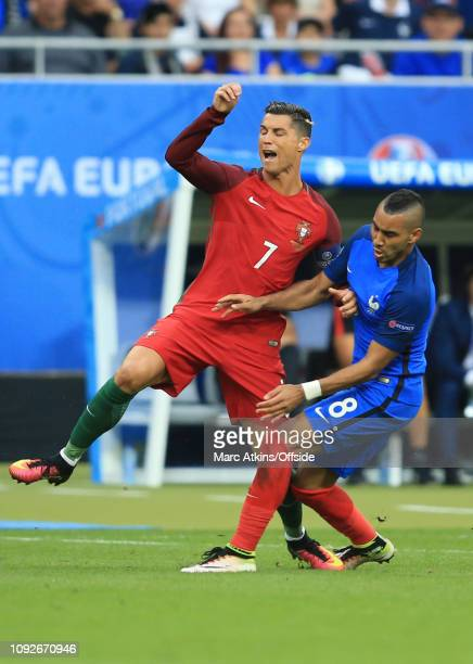 10 July 2016 UEFA EURO 2016 Final Portugal v France The tackle from Dimitri Payet of France which injures Cristiano Ronaldo of Portugal