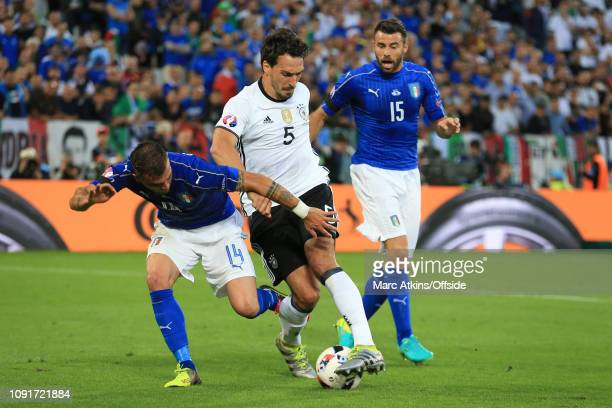 2 July 2016 UEFA EURO 2016 Quarter Final Germany v Italy Mats Hummels of Germany in action with Stefano Sturaro and Andrea Barzagli of Italy