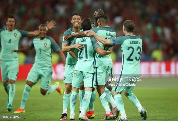 July 2016 - UEFA EURO 2016 - Semi Final - Portugal v Wales - Cristiano Ronaldo of Portugal celebrates the 2nd goal with team mates - .
