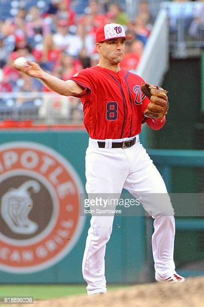 Washington Nationals shortstop Danny Espinosa fields a ground ball against the Milwaukee Brewers at Nationals Park in Washington DC where the...