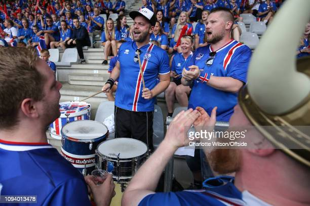 22 July 2017 UEFA Womens EURO 2017 Iceland v Switzerland Iceland fans chant along with a drummer