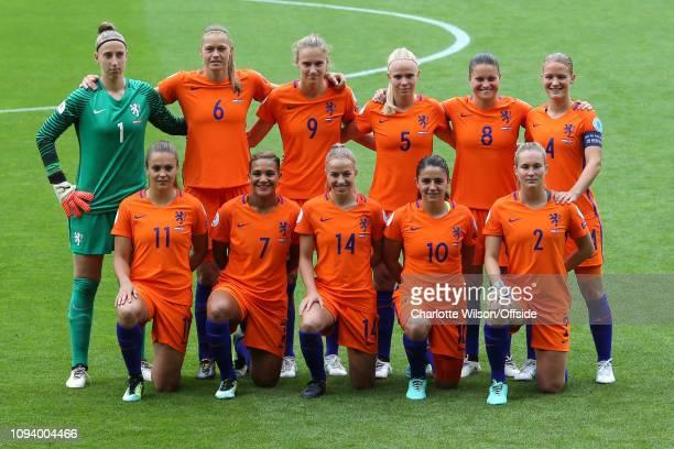 July 2017 - UEFA Womens EURO 2017 - The Netherlands v Norway - The Netherlands team photo - Top: Goalkeeper Sari van Veenedaal, Manieke Dekker,...