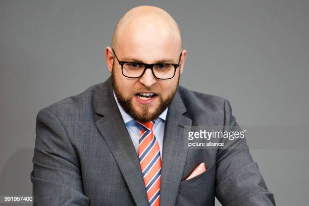 July 2018, Berlin, Germany: Markus Frohnmaier speaks during the plenary session of the German parliament. The highlight of the 46th session of the...