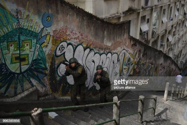 Soldiers conduct an operation at the Favela Pavao Pavaozinho In the face of the crime wave the government of Temer created a new ministry for public...