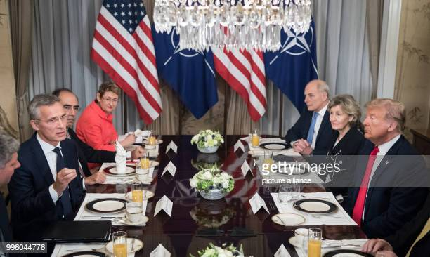 Donald Trump President of the USA and Jens Stoltenberg NATO's General Secretariat meet on the occasion of the NATO Summit at the Brussels residence...