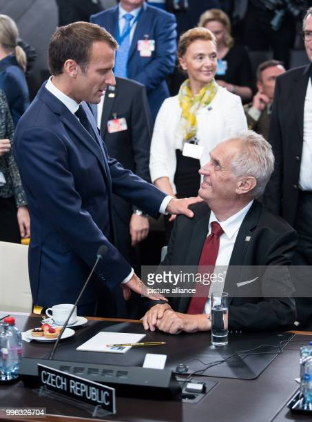 Emmanuel Macron President of France and Milos Zeman President of the Czech Republic have a conversatiom at the first work session of the North...