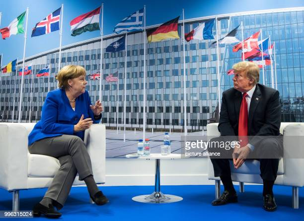German Chancellor Angela Merkel of the Christian Democratic Union and Donald Trump President of the United States of America meet for bilateral talks...
