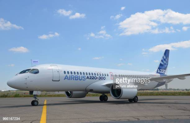 An aircraft of the model A220300 is on the runway at the Airbus delivery centre near Toulouse The European aircraft manufacturer Airbus renames the...