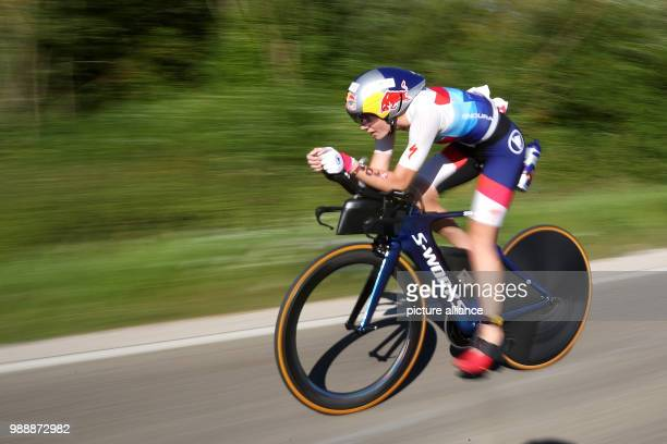 British triathlete Lucy Charles in action during the cycling portion of the Triathlon DATEV Challenge Roth 2018 At the 17th occasion of the event...