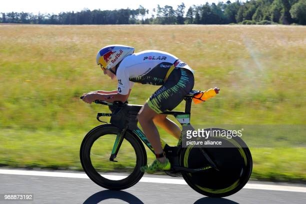 German triathlete Sebastian Kienle in action during the cycling portion of the Triathlon DATEV Challenge Roth 2018 At the 17th occasion of the event...