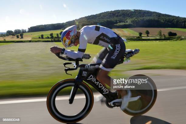 Jesse Thomas triathlete from the USA pictured during the cycling stage of the DATEV Challenge Roth Photo Daniel Karmann/dpa