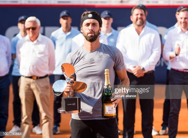 29 July 2018 Germany Hamburg Tennis ATP Tour German Open singles men final in the tennis stadium at Rothenbaum Basilashvili Mayer Nikoloz...