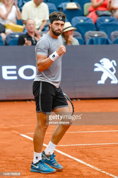 Tennis ATPTour German Open semi final singles men in the Rothenbaum tennis stadium Nikoloz Basilashvili from Georgia celebrates his entry into the...