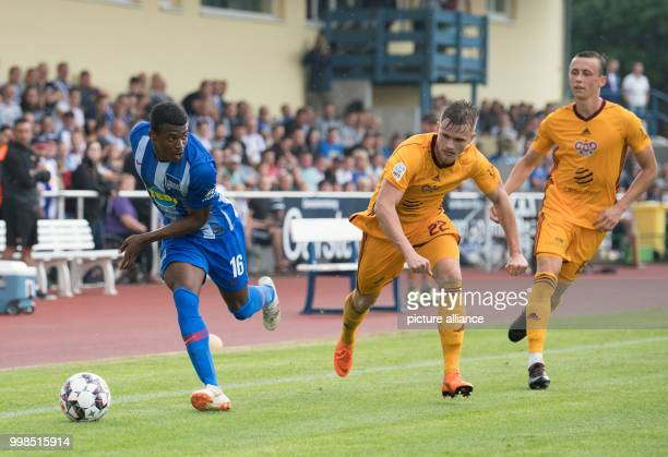 Test match Hertha BSC vs Dukla Prague Hertha's Javairo Dilrosun in action against David Breda and Daniel Tetour Photo Soeren Stache/dpa