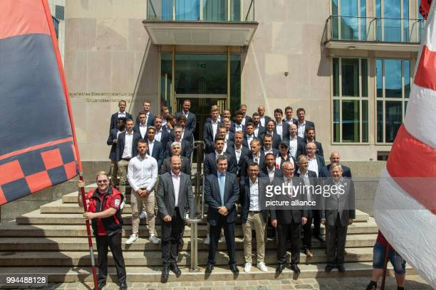 Markus Soeder of the Christian Social Union Premier of Bavaria stands in front of the Homeland Ministry with the team during a reception on the...