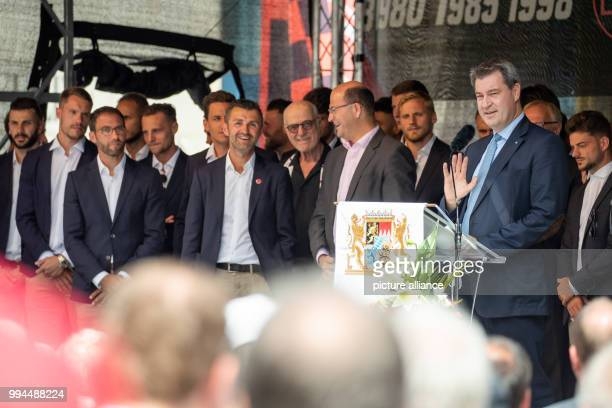 Markus Soeder of the Christian Social Union Premier of Bavaria delivers a speech during a reception on the occasion of the ascent of the German...