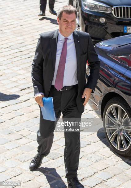 Premier of Bavaria from the Christian Social Union markus Soeder arriving for the cabinet meeting The main focus is university and college...