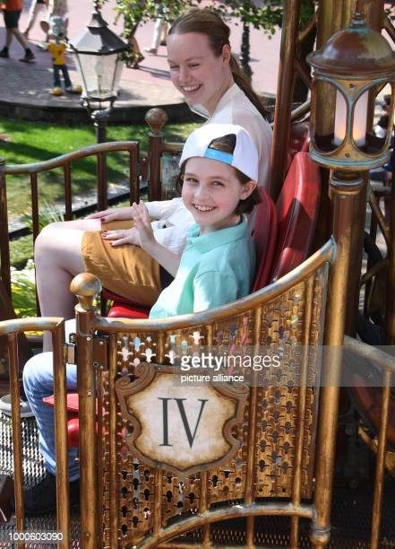 The 8 year old 'turbo pupil' Laurent Simons fromAmsterdam riding the Volo da Vinci ride with his mum Lydia Simons at the Europa park Laurent passed...