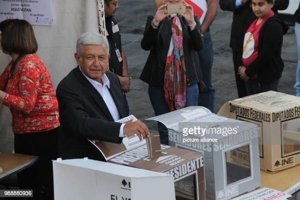 Politician Andres Manuel Lopez Obrador presidential candidate for the party Morena casts his vote in the election Photo Gerardo Vieyra/dpa
