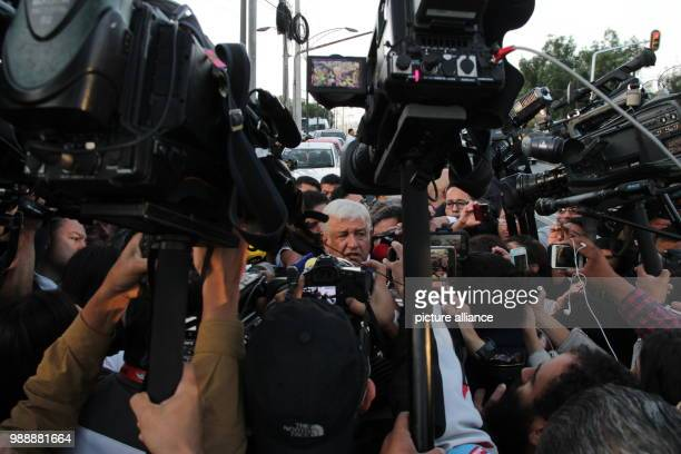 Politician Andres Manuel Lopez Obrador presidential candidate for the party Morena speaking to journalists after casting his vote in the election...
