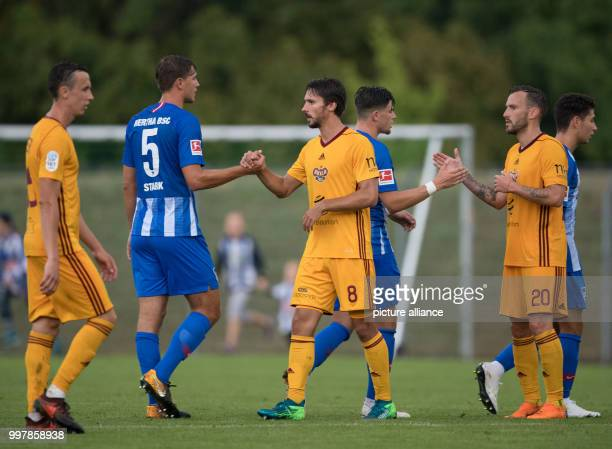 Test match Hertha BSC Dukla Prag Hertha's Niklas Stark Nikos Zografakis and Prague's Partik Brandner and Branislav Milosevic bid each other farewell...