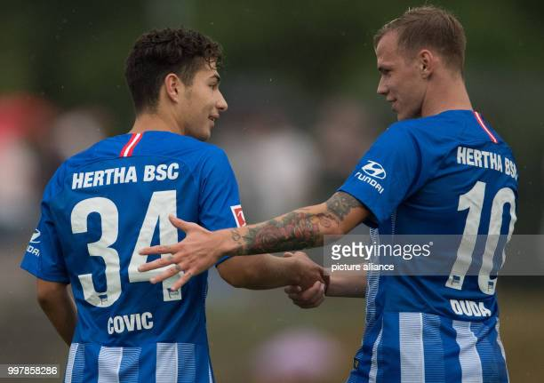Test match Hertha BSC Dukla Prague Hertha's 32 scorer Maurice Covic cheers with Ondrej Duda Photo Soeren Stache/dpa