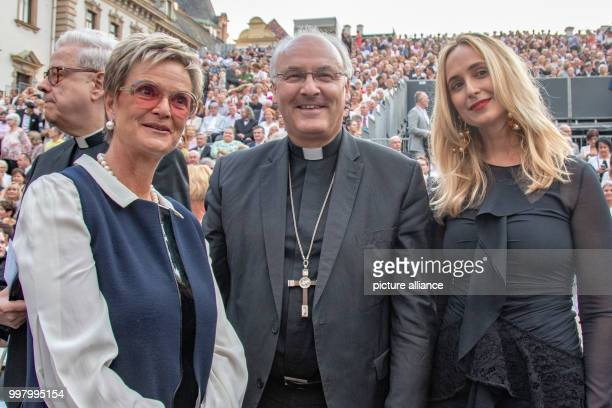 Gloria von Thurn und Taxis bishop of Regensburg Rudolf Voderholzer and Gloria's daughter Elisabeth during the opening of the ThurnundTaxis Palace...