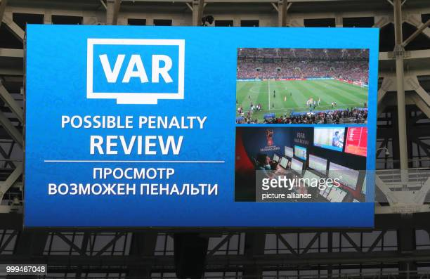 Soccer World Cup 2018 Final game France vs Croatia at the Luzhniki Stadium On the scoreboard the words 'VAR' short for video assistant Referee and...