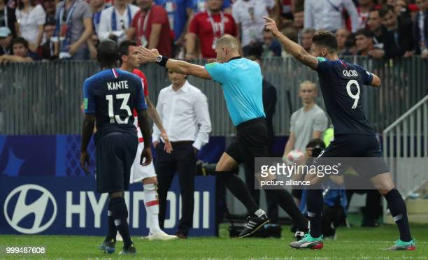 Soccer World Cup 2018 Final game France vs Croatia at the Luzhniki Stadium Argentinian referee decides for a penalty after checking the VAR Photo...