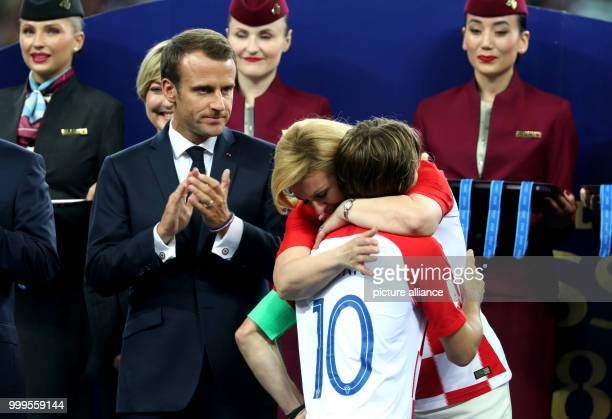 Soccer World Cup 2018 Final game France vs Croatia at the Luzhniki Stadium Kolinda GrabarKitarovic President of Croatia congratulating Luka Modric...