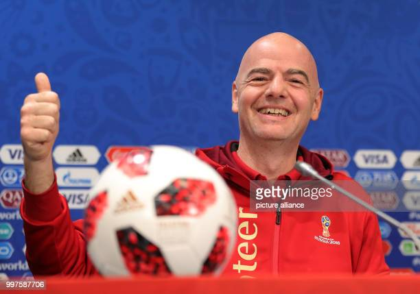 Soccer World Cup FIFAPresident Gianni Infantino gesticulating at a press conference Photo Christian Charisius/dpa