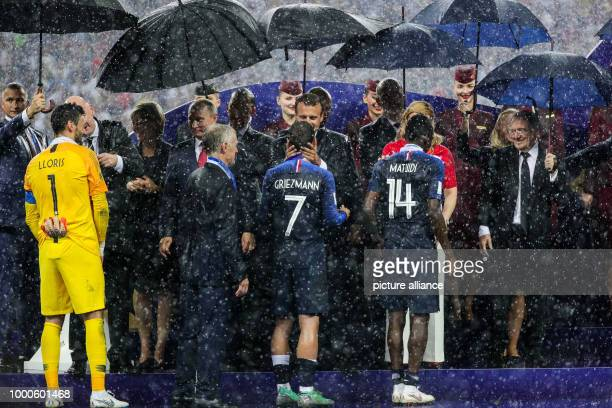 Soccer World Cup France vs Croatia final at the Luschniki stadium France's goalkeeper Hugo Lloris Coach Didier Deschamps players Antoine Griezmann...