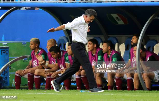 Soccer World Cup 2018 Final round round of 16 Mexico vs Brazil at the Samara stadium Mexico head coach Juan Carlos Osorio gesturing from the sideline...