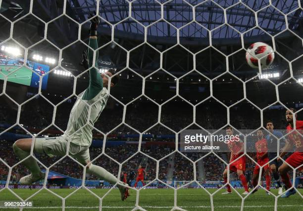 Soccer FIFA World Cup 2018 final round semifinal France vs Belgium at the Saint Petersburg StadiumBelgium's goalkeeper Thibaut Courtois cannot...