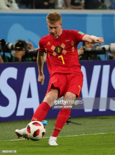 July 2018, Russia, St. Petersburg: soccer, World Cup, semi-finals, France vs Belgium, St. Petersburg stadium. Belgium's Kevin de Bruyne in action....