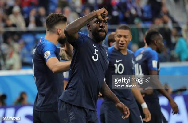 soccer World Cup semifinals France vs Belgium St Petersburg stadium France's Samuel Umtiti celebrates his 10 goal Photo Christian Charisius/dpa