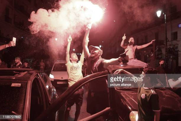 Algeria national soccer team supporters celebrate at the Grande Poste D'Alger after Algeria reached the final of the 2019 Africa Cup of Nations...