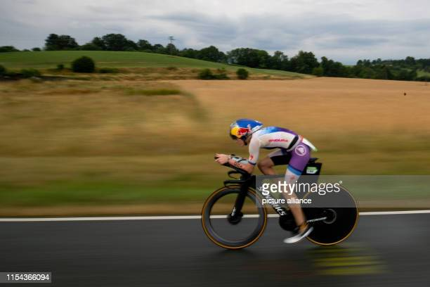 Lucy CharlesBarclay triathlete from Great Britain rides during the cycling stage of the Datev Challenge Roth In the 18th edition of the triathlon...