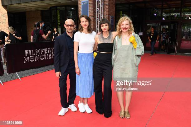 Before the world premiere of the film Stillstehen the actor Jürgen Vogel the actress Natalia Belitski the author and director Elisa Mishto and...