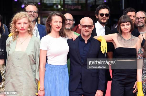 Before the world premiere of the film Stillstehen the actresses LuisaCéline Gaffron Natalia Belitski the actor Jürgen Vogel and the author and...