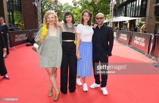 LuisaCéline Gaffron the author and director Elisa Mishto the actress Natalia Belitski and the actor Jürgen Vogel are on the red carpet before the...