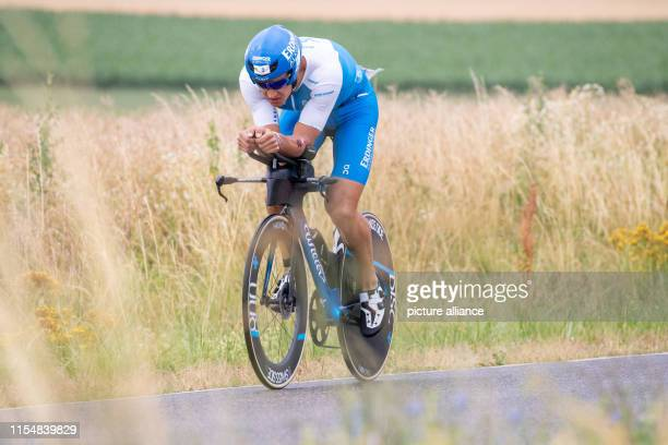 Andreas Dreitz triathlete from Germany rides during the cycling stage of the Datev Challenge Roth In the 18th edition of the triathlon participants...
