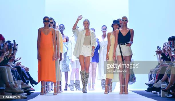 Lena Gercke presents herself after the fashion show of her label Leger by Lena Gercke during the About You Fashion Week in the EWerk between the...
