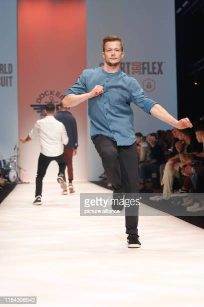 Models show fashion at the Dockers Show during the About You Fashion Week at the EWerk in Berlin Collections for Spring/Summer 2020 will be presented...