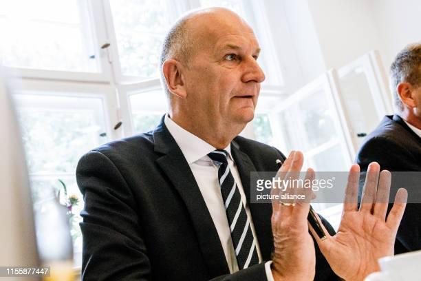 "July 2019, Brandenburg, Potsdam: Dietmar Woidke , Prime Minister of Brandenburg, speaks at the ""Bilanz-Pk"" of the red-red state government of..."