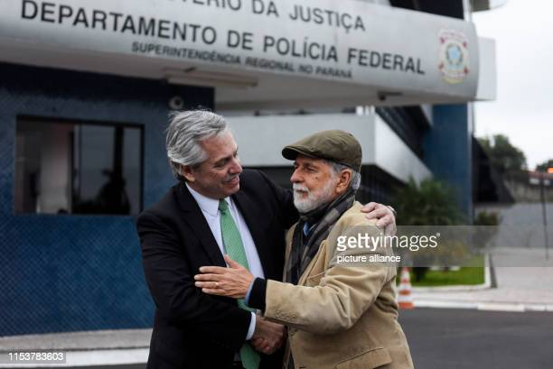 Alberto Fernandez candidate for the presidency in Argentina speaks to Celso Amorim former foreign minister under the Brazilian government of Lula da...
