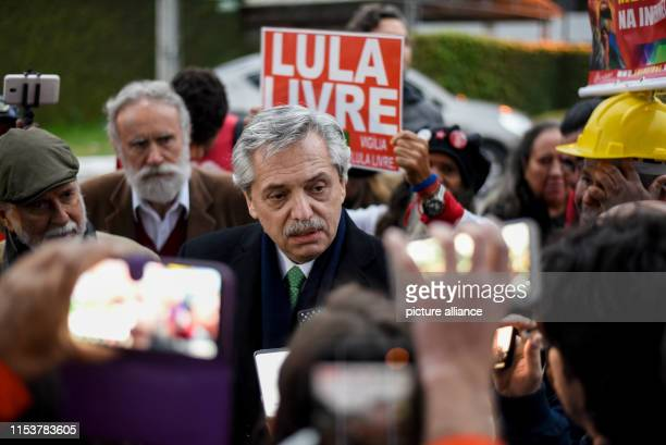 Lula Livre is written on the poster behind Alberto Fernandez candidate for the presidency in Argentina who visited the former president of Brazil...