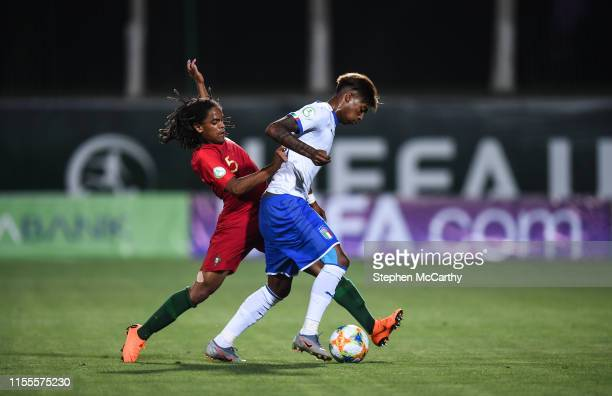 July 2019 Eddie Salcedo of Italy in action against Tiago Lopes of Portugal during the 2019 UEFA European U19 Championships group A match between...